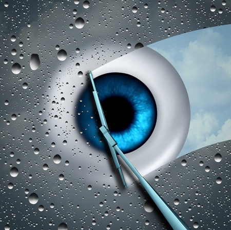 Eye care or eyecare health concept as a wet glass in front of an eyeball being wiped clean with a wiper as a optometry or ophthalmology medicine symbol with 3D illustration elements.