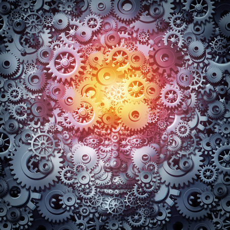 computing: Human resource intelligence business concept as a mind and face machine made of gears and cogs as a technology or psychology metaphor for invention and industry inspiration as a 3D illustration. Stock Photo