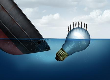 bombillo ahorrador: soluci�n de rescate negocio como un barco que se hunde y una bombilla que flota el rescate de los empresarios como una met�fora de seguro para sobrevivir a tiempos dif�ciles como un grupo con elementos de ilustraci�n 3D.