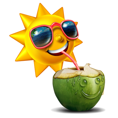 non alcoholic: Summer refreshment icon as a happy sun character drinking a fresh cut open coconut as a summertime metaphor for vacation relaxation with 3D illustration elements.