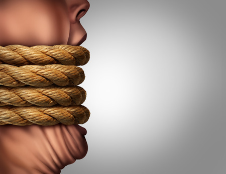gagged: Kidnapped hostage abduction concept as a person with a big mouth tied with ropes as a censorship and suppression metaphor for communication problem in a photo realistic 3D illustration style. Stock Photo