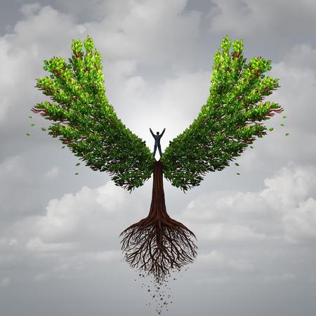 担当と 3 D イラストレーション スタイルで肯定的な思考の心理学のシンボルとしての成功のための目標に向かって飛んで翼を持つ木を制御する人と