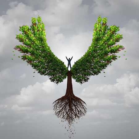 life coaching: Control your life opportunity concept as a person taking charge and controlling a tree with wings flying towards a goal for success as a psychology symbol for positive thinking in a 3D illustration style.