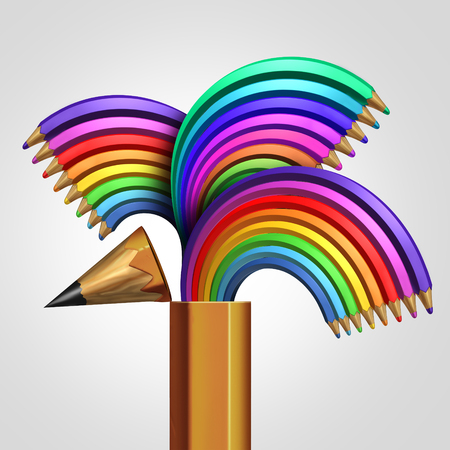 creative communication: Creative expression concept as a group of rainbow color pencils emerging out from a large open pencil as an imagination metaphor for colorful artistic communication as a 3D illustration. Stock Photo