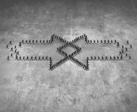 concepto de integración como dos grupos de personas que se ejecutan en forma como una flecha integrar juntos como una metáfora de negocios para combinar equipos juntos para el éxito del grupo como una ilustración tridimensional realista