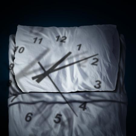 Clock Stress concept als een tijd stuk werpen schaduw op een kussen en bed als een stress of zakelijke deadline angst metafoor en slapen angst in een 3D-afbeelding stijl. Stockfoto