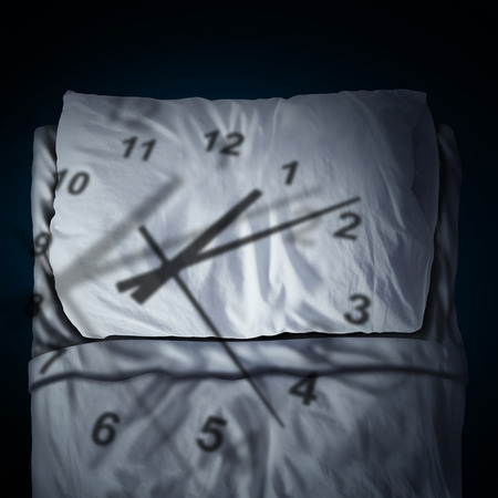 Clock stress concept as a time piece cast shadow on a pillow and bed as a stress or business deadline anxiety metaphor and sleeping anxiety in a 3D illustration style.