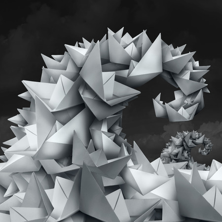 business trending: Business trends concept as a group of paper boats shaped as a giant wave and tide as a forecast metaphor for crowd funding and social media trend setting in a 3D illustration style. Stock Photo
