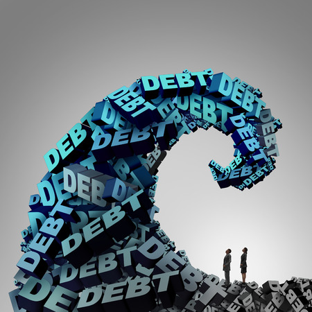 economic crisis: Debt pressure financial concept as a huge wave or tide made of 3D illustration text as a finance and economic crisis metaphor for money problem risk and budget management trouble.