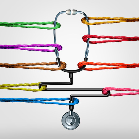 demanding: Community health care support as a doctor stethoscope being pulled by diverse color ropes as a medical or medicine metaphor for social medicine services or overworked hospital workers with 3D illustration elements.