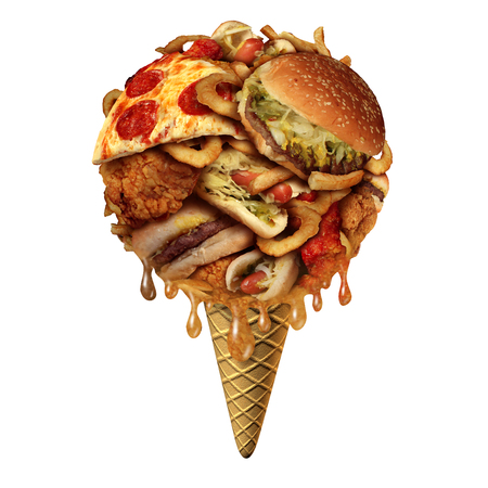 health symbols metaphors: Summer junk food concept as unhealthy treats as fried snacks shaped as an icecream on a cone as a health and fitnesss metaphor for bad eating habits during the hot months with 3D illustration elements.
