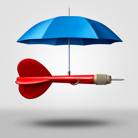 business symbols metaphors: Strategy protection business concept as a dart being supported and protected by an umbrella as a metaphor for providing safety to a goal and plan as a 3D illustration. Stock Photo