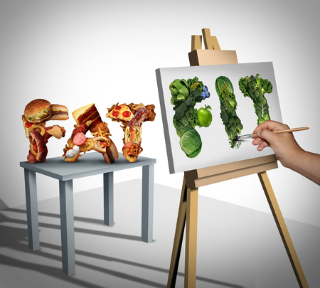 still life food: Dieting focus and changing nutrition lifestyle goals as a person painting still life on canvas from fat cholesterol rich fast food to healthy fit fresh fruit and vegetables with 3D illustration elements. Stock Photo