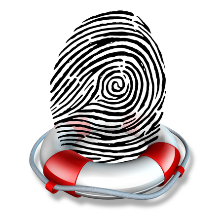 identity protection: Identity safety and Identification security or ID fraud protection as a lifesaver lifebelt  protecting a fingerprint or finger print icon as a symbol to rescue personal data and consumer information guard as a 3D illustration.