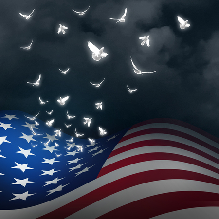 grieving: American freedom concept as the flag of the United States with the stars transforming into white doves as a patriotic and national rememberance and memorial independence celebration with 3D illustration elements.