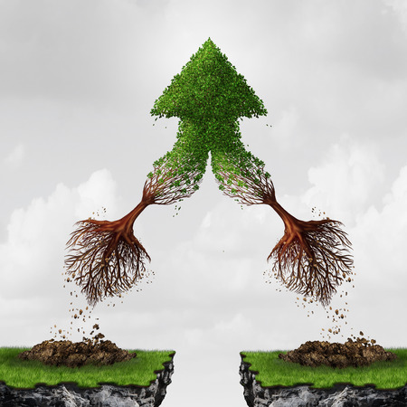 association imagine: Team and teamwork collaboration concept as two flying uprooted trees combining together in friendship and mutual benefit creating an upward arrow as a business metaphor for courage  in a 3D illustration style.