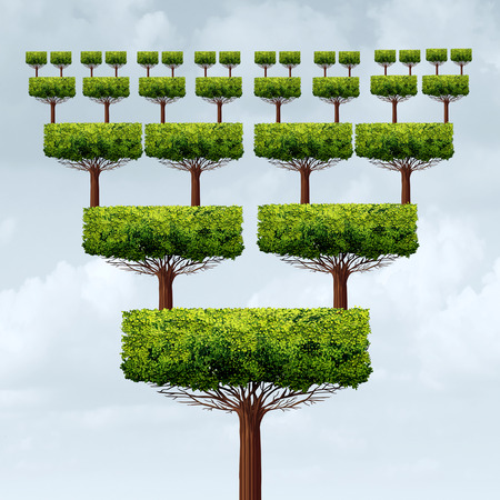 3 차원 그림 스타일의 프랜차이즈 증가 또는 프랜차이즈 성장 구조 상징으로 프랜차이즈 사업의 개념 및 확장 사업 피라미드 성공 트리.