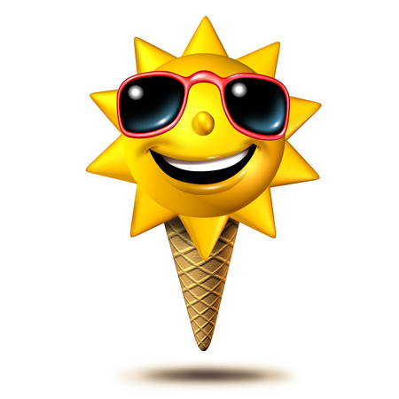 Summer treat as as a happy sun character scoop on an ice cream cone as a summertime dessert concept as a 3D illustration on a white background.