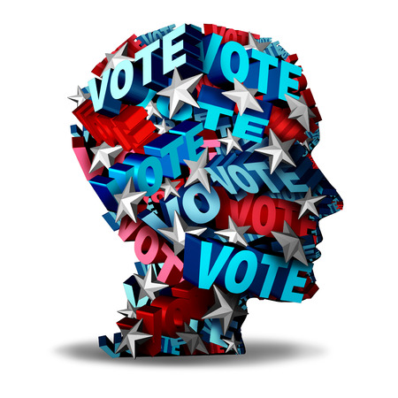 voters: Vote concept and voting symbol as a group of 3D illustration text and stars representing a voter or candidate for an election in the USA as an icon for the American voters.