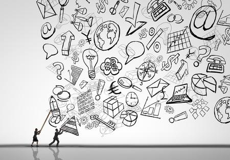 Business management uitdaging als een zakenvrouw en zakenman het controleren van de stortvloed aan bedrijven kantoor zaken als tekeningen van economische symbolen wordt tegengehouden door de manager professionals in een 3D-afbeelding stijl. Stockfoto
