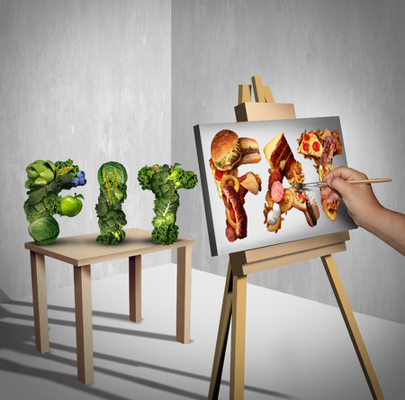 craving: Food temptation concept as a green vegetables shaped as the word fit with a painter painting the text fat made of greasy fast food as a nutrition health metaphor for craving and having an obsession with unhealthy snacks with 3D illustration elements.