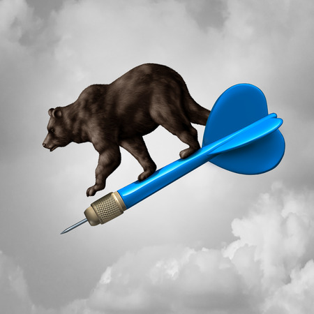 bear market: Bear market prediction missed target financial concept and losing stock goal business symbol as a pessimistic riding a dart downward towards failure as a finance icon with 3D illustration elements.