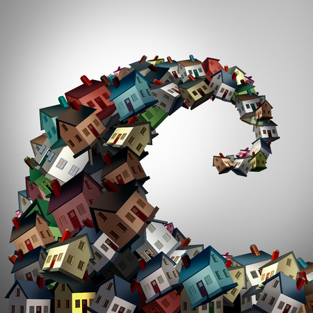 housing crisis: Housing crisis concept as a group of family homes shaped as an ocean wave as a real estate or residential property metaphor for risk and debt danger as a 3D illustration.
