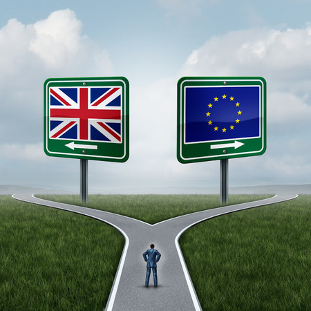pertaining: Britain European Union question as a brexit concept pertaining to the UK vote confusion and Euro zone and Europe membership British decision as a person standing on a crossroad dilemma with flags on road signs with 3D illustration elements.
