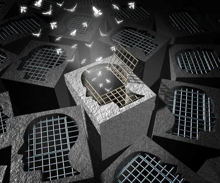 d�livrance: concept de d�livrance ou de r�demption et de salut symbole comme une cage de prison en forme de t�te humaine avec une porte ouverte avec des oiseaux blancs volants comme une m�taphore pour la lib�ration psycholocical avec des �l�ments d'illustration 3D.