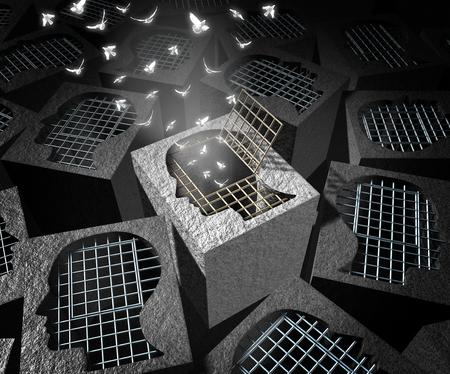 Koncepcja wybawienie lub odkupienia i zbawienia jako symbol klatce więziennej w kształcie ludzkiej głowy z otwartych drzwi białe ptaki wylatujące jako metafora psycholocical wydaniu z elementami 3D ilustracji. Zdjęcie Seryjne