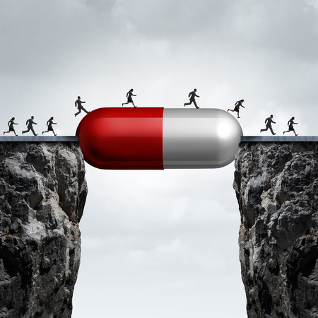 pill prescription: Medicine solution and medication cure concept as a group of people running across two cliffs with a prescription pill creating a bridge for medical research success with 3D illustration elements.