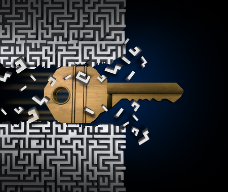 decrypt: Key to success or jailbreak and jailbreaking concept and crack the code symbol as a keyhole object breaking through a maze puzzle or labyrinth as a finding a path and accessibility business idea as a 3D illustration.