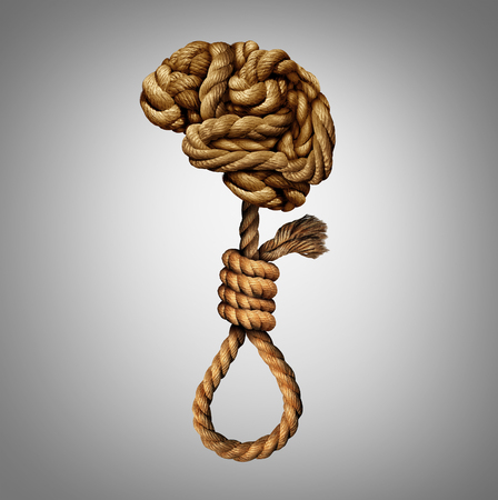 deranged: Suicidal thoughts mental health disorder concept and psychology of a distressed and suffering mind as a group of tangled ropes shaped as a human brain and suicide noose.