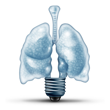 emphysema: Lung health ideas as a human cardiovascular organ shaped as a lightbulb or light bulb as a medical metaphor for diseases of the lungs solution and asthma therapy treatment with 3D illustration elements.