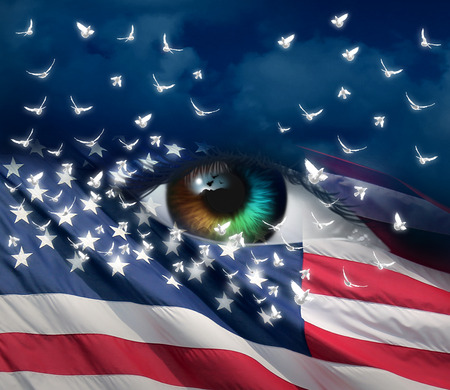 heros: Grief and sorrow in America concept as a diverse human eye with the flag of the United Staes with doves emerging out of the stars as a mourning symbol due to tragedy or violence in a 3D illustration style.