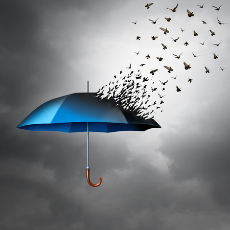 vulnerable: Protection freedom concept as an umbrella transforming into a group of flying birds as a metaphor for global security and risk and liberty symbol with 3D illustration elements.