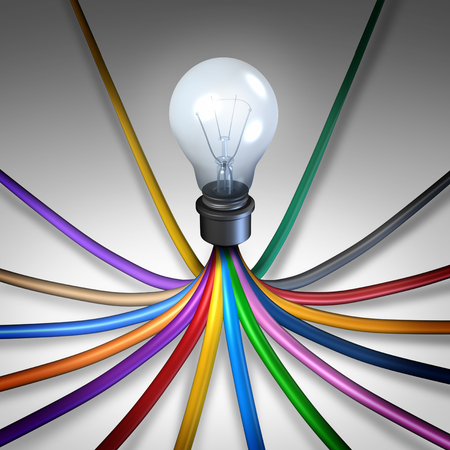 technology metaphor: Creative community network concept as diverse electrical cords connected together to light a lightbulb as a social communication technology metaphor for networking creativity as a 3D illustration. Stock Photo