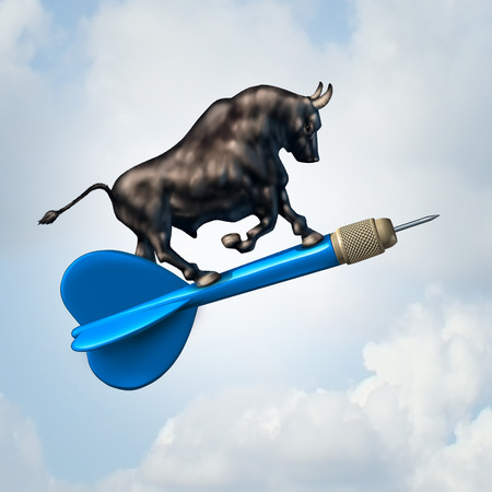 bullish: Bull market target financial concept and profiable stock goal business symbol as an optimistic bull riding a dart upward towards success as a finance icon with 3D illustration elements.