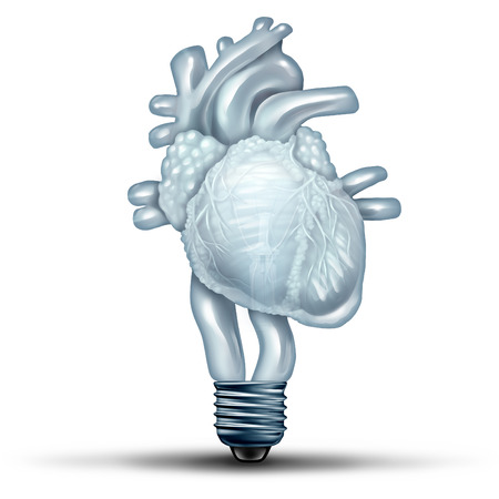 blood flow: Heart health solution as a human cardiovascular organ shaped as a lightbulb or light bulb as a medical and medicine metaphor for healthy body ideas and blood flow therapy treatment thinking with 3D illustration elements.