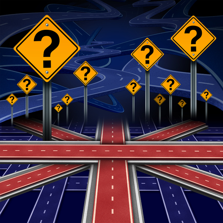 pertaining: British European question as a brexit concept pertaining to the UK vote confusion and Euro zone and Europe membership decision as a group of roads shaped as the flag of Britain as a 3D illustration.