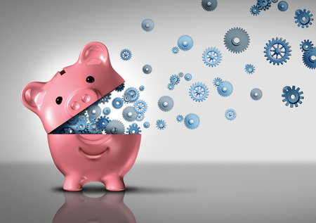 piggybank: Bank business concept and banking technology as an open piggybank with technology gears and cog wheels emerging out as a financial and economic symbol for finance success and investing development as a 3D illustration. Stock Photo