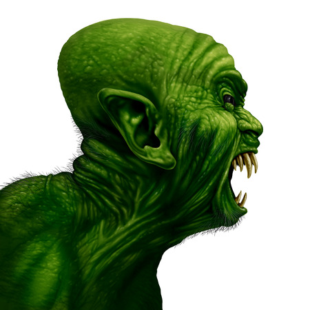 3d scary: Monster head side view as a zombie face or mutant beast screaming as a creepy halloween or angry scary demon symbol with textured green wrinkled skinisolated on a white background in a realistic 3D illustration style. Stock Photo
