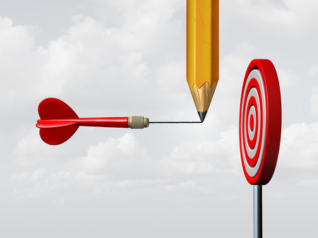 Success consulting concept and business marketing advice system as a pencil drawing on a flying dart an extended target needle straight towards a focused goal as a motivation and achievement metaphor with 3D illustration elements.