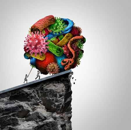 malignant cells: Disease treatment research doctor concept as a doctor and health professional pushing a group of bacteria virus and malignant cells over a cliff as a medical and medicine symbol for cure and controlling illness with 3D illustration elements.