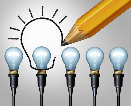 idea sketch: Lightbulb pencil drawing increase innovation concept and bigger Idea symbol as upgrade sketch of a larger light bulb drawn as a creative imagination metaphor or increasing education solutions icon as a 3D illustration.