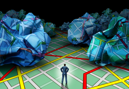 metaphors: Business destination strategy concept as a businessman standing on a road map facing a background of crumpled paper maps as a guidance and advice metaphor in a 3D illustration style.