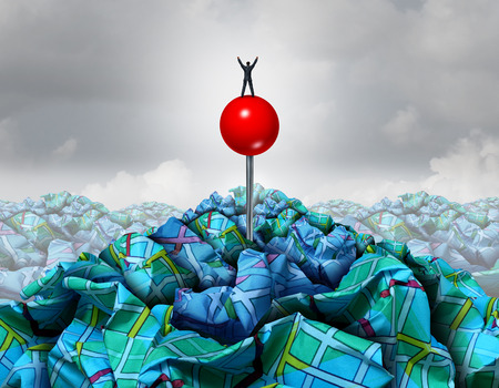 Search success concept as a businessman standing on a red pin on a pile of crumpled road maps as a symbol for business searching leadership with 3D illustration elements.
