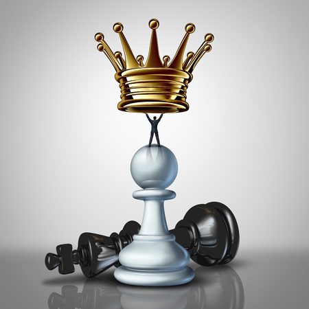 take charge: Strong Business leadership sstrategy concept as a take charge businessman standing on a chess pawn lifting a golden crown as an icon of a leader with strategiuc determination for power with 3D illustration elements. Stock Photo