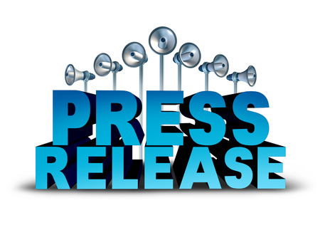 press release: Press release news reporting and public relation communication concept as 3D illustration text with bullhorn or megaphone objects broadcasting an important message or media announcement sound bite.