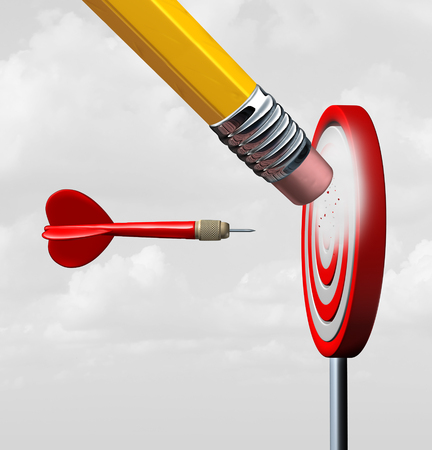 peril: Business market loss and losing focus with industry change as a red dart heading towards a fading disappearing industry symbol as a pencil eraser erasing a target with 3D illustration elements. Stock Photo
